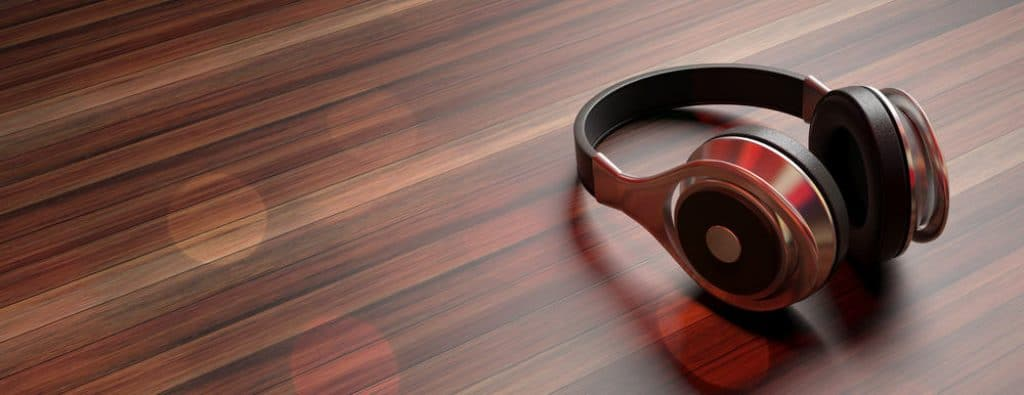 Wireless Headphones on wooden background, banner, copy space. 3d illustration